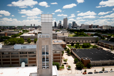 An aerial shot of above the IUPUI Campus Center looking downtown
