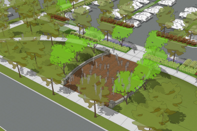 A rendering of the admissions plaza