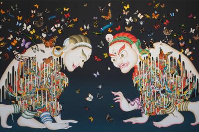 """Tsherin Sherpa """"Spirits (Metamorphosis)"""" painting"""