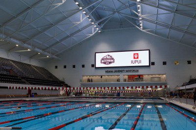 a wide view of the IU Natatorium and its pool