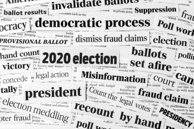 """collage of news clippings saying various things like """"2020 election"""" and """"president"""" and """"ballots"""""""
