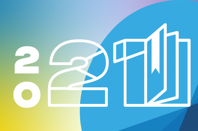 A graphic that says 2021, with the numeral 1 made up of a book