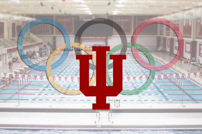 The IU pool with an IU trident and Olympic rings