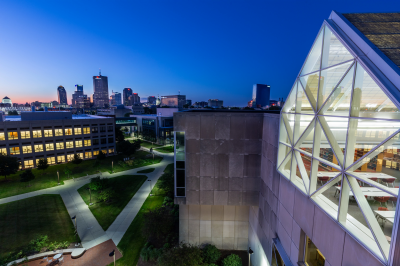 a view of downtown Indianapolis from university library