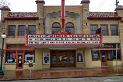 The Buskirk-Chumley Theater marquee displays quote from Mr. Rogers.