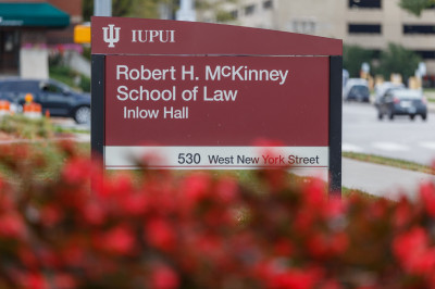 McKinney School of Law sign outside the building