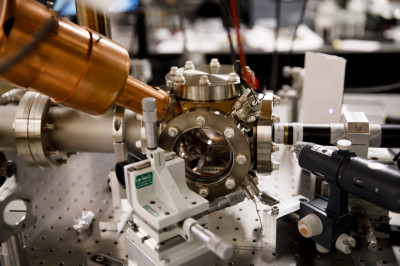An ion trap is pictured in the Richerme Lab in Simon Hall at IU Bloomington.