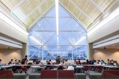 Students studying in the University Library on the IUPUI campus.