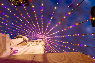 a view of the monument circle holiday lights from below