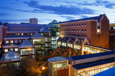 The IU School of Medicine library at night