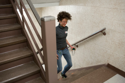 a student climbs stairs