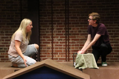 Students rehearse a scene from the play 'Ascendant'