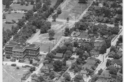 An aerial view of Emerson Hall and a house, ca. 1949, on the IUPUI campus