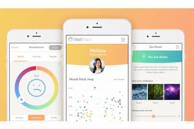 The WellTrack app is displayed on three phones