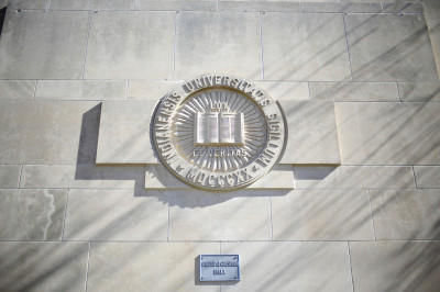 IU engraved seal on Foster Quadrangle building