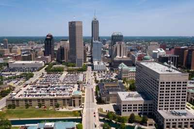 downtown Indianapolis skyline is pictured from the air from the IUPUI campus
