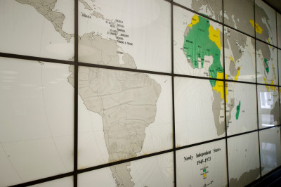 A map of the globe in Ballantine Hall