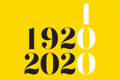 A yellow background with the numbers 1920, 2020 and 100 designed
