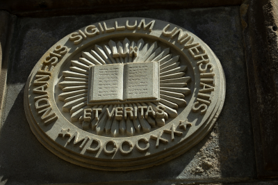 A limestone seal of Indiana University