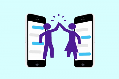 Graphic art of two people high-fiving next to cellphones