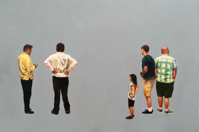 Painting of people standing as if contemplating something that is not there