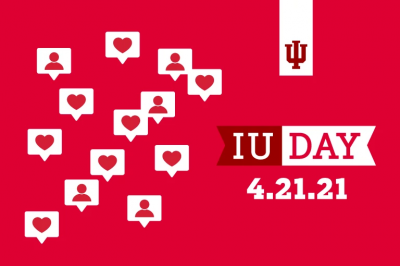 Hearts on a red background with the words 'IU Day'