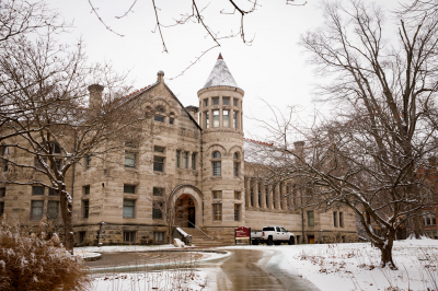Maxwell Hall on a snowy day