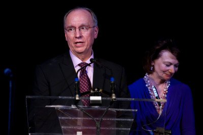 former IUPUI chancellor Charles R. Bantz speaks at a podium