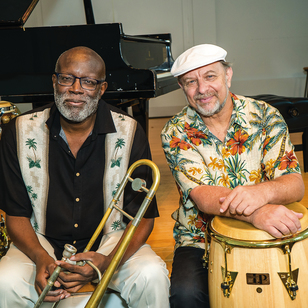 Percussionist Michael Spiro and trombonist Wayne Wallace