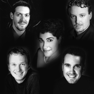The Five Friends, clockwise from upper left: Robert Samels, Garth Eppley, Chris Carducci, and Zachary Novak. Center: Georgina Joshi.