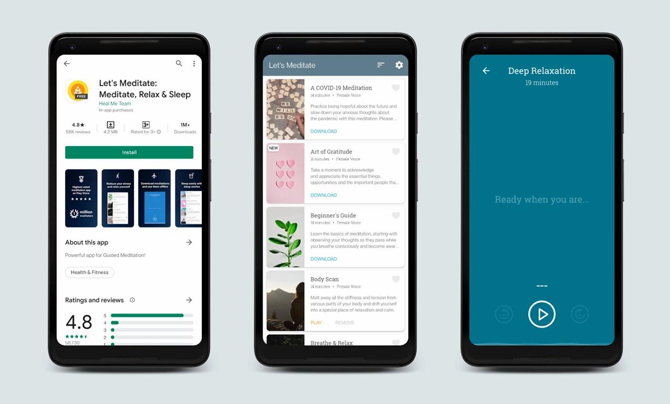Let's Meditate app interface