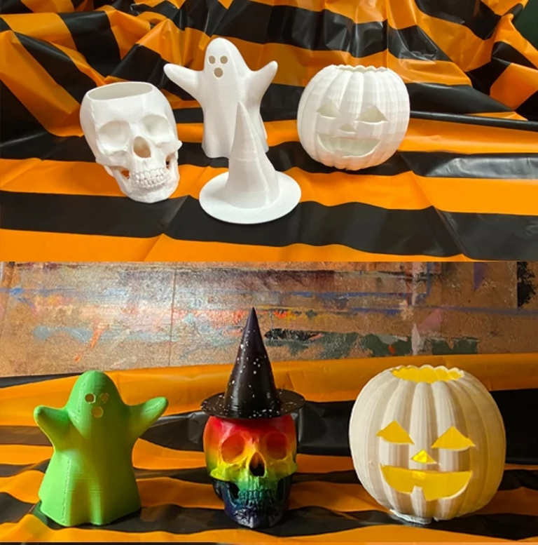 plain versions and completely painted versions of 3D printed molds of a skull, pumpkin, witch hat