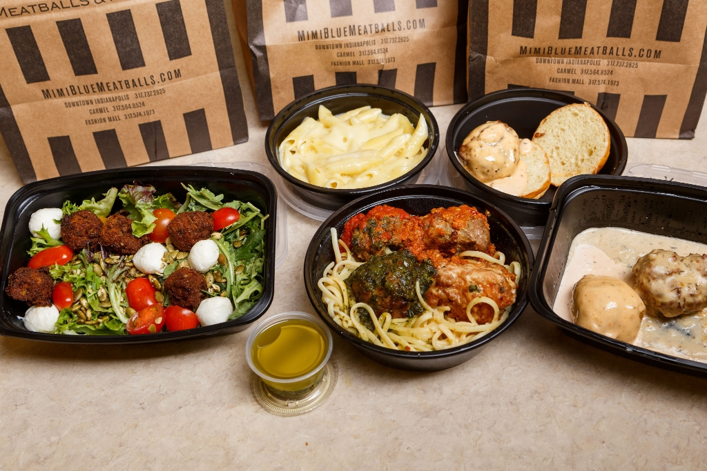 Salads, various pasta dishes, and meatball dishes look tempting.