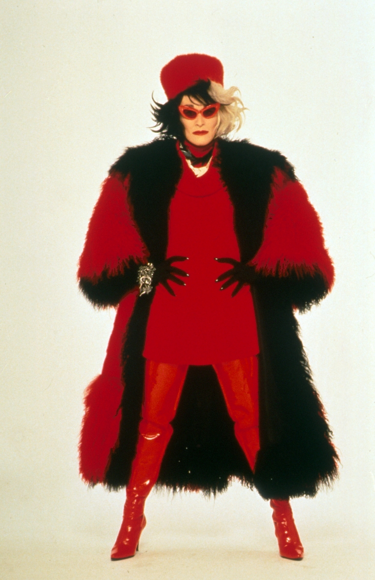 "Glenn Close wears a black and red fur coat from ""101 Dalmatians."""