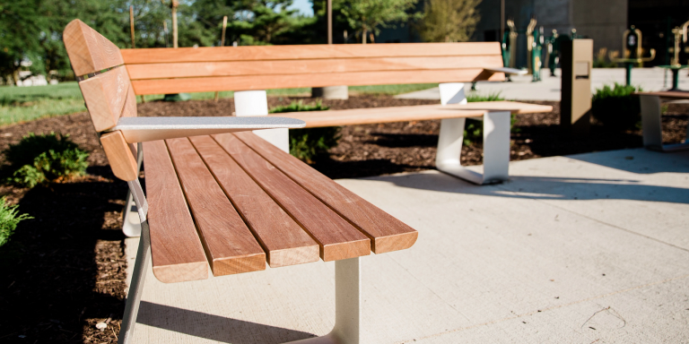 benches in the fitness garden