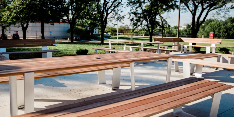 benches and tables in the fitness garden