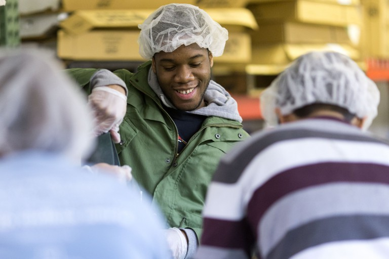 Students from IUPUI participate in an MLK Day of Service.