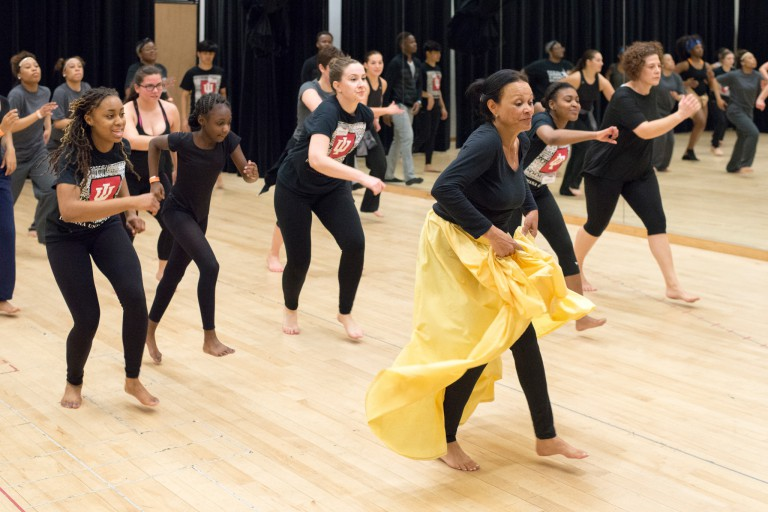 Milagros Ramirez teaches Afro-Cuban dance classes at the dance company's Annual Dance Workshop.