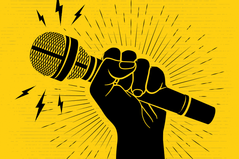 graphic of black fist holding black microphone