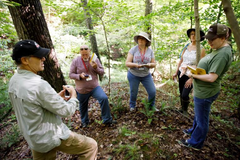 IU professor Micheal Hamburger speaks to teachers at the IU Research and Teaching Preserve