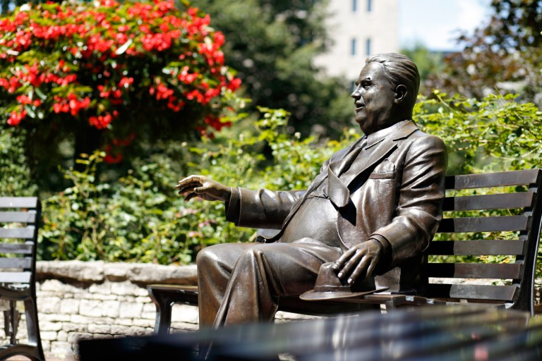 Statue of Herman B Wells on the IU Bloomington campus