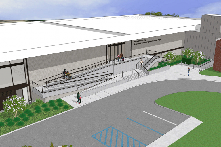 rendering of museum shows accessible ramp and parking