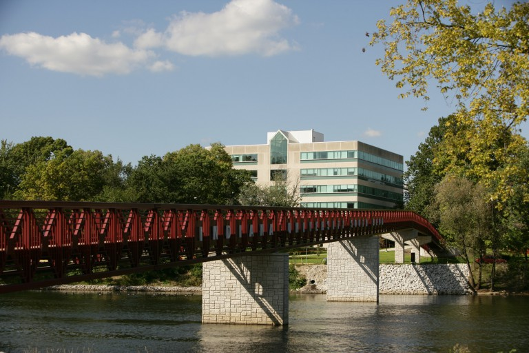 The bridge over the river on the IU South Bend campus.