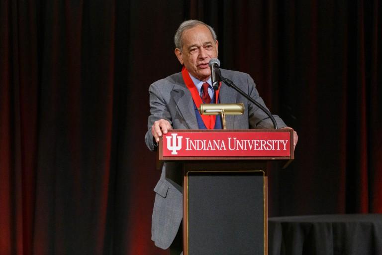 Alvin Rosenfeld speaks from a podium