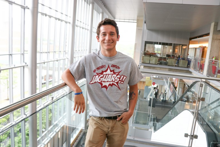 Student Ryan McGlinchey in the Campus Center.