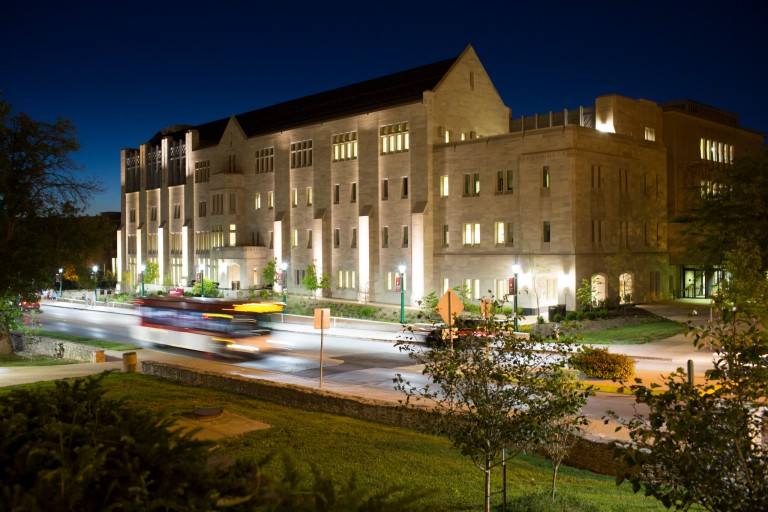 Kelley School's Hodge Hall at night