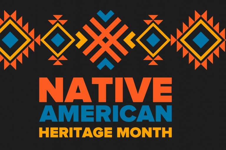 A black graphic with 'Native American Heritage Month' in red, blue and yellow, with a tribal design.