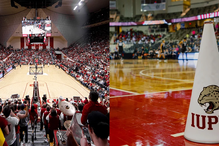 an image of half of Simon Skjodt Assembly Hall and then IUPUI megaphone at Indiana Farmers Coliseum