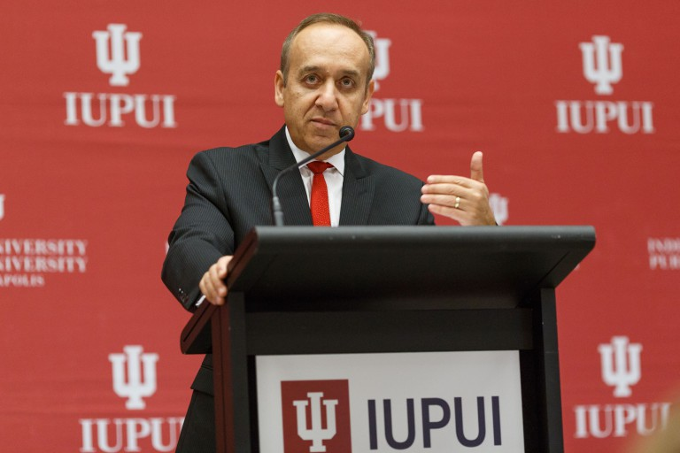 IUPUI Chancellor Nasser H. Paydar speaking