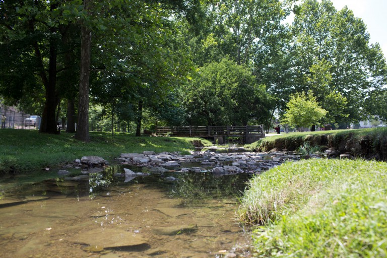 The Jordan River on IU Bloomington's campus